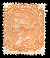 Lot 1236:1876-1904 DLR Wmk Crown/SA (Close) Perf 15: SG #174 2d pale orange, Cat £27.