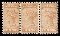 Lot 1239:1883-99 Wmk Crown/SA (Close) Perf 13: SG #191 ½d pale brown strip of 3, Cat £15+.