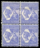 Lot 1240:1894-1906 Tannenburg Wmk Crown/SA (Close) Perf 13: SG #236 2½d violet-blue block of 4, adhesion affects top units, Cat £128+.