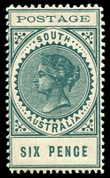 Lot 1582:1902-04 Thin 'POSTAGE' Perf 11½-12½ SG #270 6d deep blue-green, gum bend, Cat £12