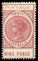Lot 9442:1902-04 Thin 'POSTAGE' Perf 11½-12½ SG #273 9d rosy lake, Cat £15