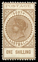 Lot 9447:1902-04 Thin 'POSTAGE' Perf 11½-12½ SG #275 1/- brown, Cat £26