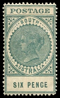 Lot 9456:1904-11 Thick 'POSTAGE' Wmk Crown/SA (Close) Perf 12 SG #284 6d blue-green (15mm), Cat £40 (3)