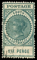 Lot 9455 [2 of 2]:1904-11 Thick 'POSTAGE' Wmk Crown/SA (Close) Perf 12 SG #284 6d blue-green (15½mm). Plus 15mm darker example (tear). (2)