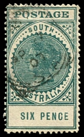 Lot 9455 [1 of 2]:1904-11 Thick 'POSTAGE' Wmk Crown/SA (Close) Perf 12 SG #284 6d blue-green (15½mm). Plus 15mm darker example (tear). (2)