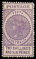 Lot 8975:1904-11 Thick 'POSTAGE' Wmk Crown/SA (Close) Perf 12 SG #289 2/6d bright violet (V), Cat £75.