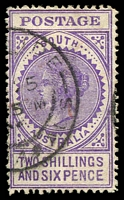 Lot 8976:1904-11 Thick 'POSTAGE' Wmk Crown/SA (Close) Perf 12 SG #289 2/6d bright violet (V), Cat £40.