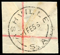 Lot 1656:Ashville: - 'ASHVILLE/1FE56/S.A' on piece. [Rated R]  PO 9/6/1892; closed 30/10/1965.