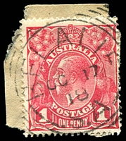 Lot 1658:Belalie: - squared-circle 'BELALIE/OC17/18/S.A' on 1d red KGV on piece. [Rated 2R]  PO 1/12/1902; closed 31/3/1973.