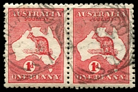 Lot 1294:Blackwood: - 24mm squared-circle 'BLACKWOOD/1/OC2/14/S_A' on 1d Roo pair. [Rated R]  Renamed from Belair PO 1/8/1881.