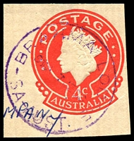Lot 1662:Brahma Lodge: - 'BRAHMA LODGE/930a-7JE66/SA-AUST' on in violet on 4c cut-out.  PO 14/5/1962.