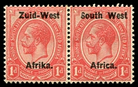 Lot 25483:1923 Opts on South Africa SG #2 1d in pr, with Broken 'u' in 'Zuid' & damaged 'S' in 'South'. (4)