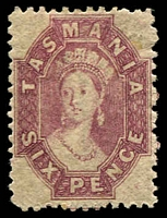Lot 10036:1863-71 Chalon Wmk Double-Lined Numeral Walsh & Sons Perf 12 SG #76 6d reddish mauve, usual brownish gum, Cat £170.