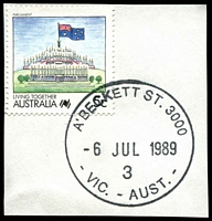 Lot 12312:A'Beckett Street: - 35½mm 'A'BECKETT ST. 3000/6JUL1989/3/VIC.-AUST.' WWW #30 on 5c on piece.  Replaced Victoria Market PO 3/7/1989; replaced by Franklin Street PO c.-/11/2011.