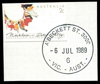 Lot 12313:A'Beckett Street: - 35½mm 'A'BECKETT ST. 3000/6JUL1989/6/VIC.-AUST.' WWW #60 on 2c booklet stamp on piece.  Replaced Victoria Market PO 3/7/1989; replaced by Franklin Street PO c.-/11/2011.