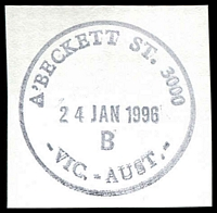 Lot 12314:A'Beckett Street: - 32½mm 'A'BECKETT ST. 3000/24JAN1996/B/VIC.-AUST.' WWW #90 on piece.  Replaced Victoria Market PO 3/7/1989; replaced by Franklin Street PO c.-/11/2011.