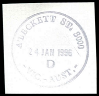 Lot 12315:A'Beckett Street: - 32½mm 'A'BECKETT ST. 3000/24JAN1996/D/VIC.-AUST.' WWW #110 on piece.  Replaced Victoria Market PO 3/7/1989; replaced by Franklin Street PO c.-/11/2011.