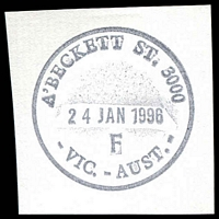 Lot 12316:A'Beckett Street: - 32½mm 'A'BECKETT ST. 3000/24JAN1996/F/VIC.-AUST.' WWW #130 on piece.  Replaced Victoria Market PO 3/7/1989; replaced by Franklin Street PO c.-/11/2011.