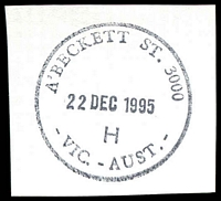 Lot 12317:A'Beckett Street: - 32½mm 'A'BECKETT ST. 3000/24JAN1996/H/VIC.-AUST.' WWW #150 on piece.  Replaced Victoria Market PO 3/7/1989; replaced by Franklin Street PO c.-/11/2011.