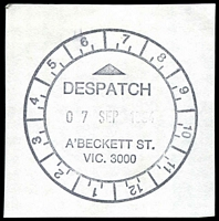 Lot 13052:A'Beckett Street: - WWW #220 50mm 'DESPATCH/7SEP1994/A'BECKETT ST./VIC. 3000' (DESPATCH 25mm long - last day), on piece.  Replaced Victoria Market PO 3/7/1989; replaced by Franklin Street PO c.-/11/2011.