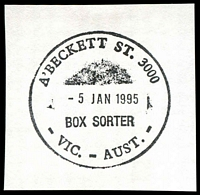 Lot 2331:A'Beckett Street: - WWW #410 37mm 'A'BECKETT ST. 3000/5JAN195/BOX SORTER/VIC.-AUST.' on piece. [Only recorded date]  Replaced Victoria Market PO 3/7/1989; replaced by Franklin Street PO c.-/11/2011.
