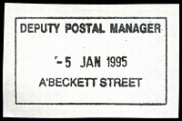 Lot 13053:A'Beckett Street: - WWW #430 boxed 'DEPUTY POSTAL MANAGER/5JAN1995/A'BECKETT STREET' on piece.  Replaced Victoria Market PO 3/7/1989; replaced by Franklin Street PO c.-/11/2011.