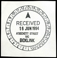 Lot 2332:A'Beckett Street: - WWW #610 52mm 'RECEIVED/16JUN1994/A'BECKETT ST./VIC/BOXLINK' on piece.  Replaced Victoria Market PO 3/7/1989; replaced by Franklin Street PO c.-/11/2011.