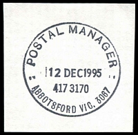 Lot 11382:Abbotsford: - WWW #710 'POSTAL MANAGER/12DEC1995/417 3170/ABBOTSFORD VIC. 3067'. [Only recorded date.]  PO 9/1/1888; LPO 4/1/2000.