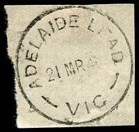 Lot 2352:Adelaide Lead: - WWW #20 'ADELAIDE LEAD/21MR41/VIC' on piece. [Rated 2R]  PO 1/8/1864; closed 23/8/1957.