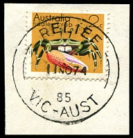 Lot 13122:Airport West (1): - 'RELIEF/2JY74/85/VIC-AUST' on 2c crab.  Renamed from Niddrie North PO 1/7/1974; renamed Niddrie North PO 20/11/1982.
