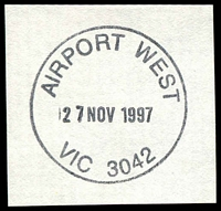 Lot 2289:Airport West (2): - WWW #50 31mm 'AIRPORT WEST/27NOV1997/VIC 3042' on piece.  PO 22/11/1982; LPO 26/10/1993.