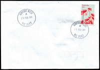 Lot 10456:Airport West (2): 29mm 'AIRPORT WEST/A/25FEB2011/VIC 3042' WWW #80 on 55c on unaddressed cover.  PO 22/11/1982; LPO 26/10/1993.