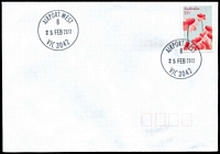 Lot 2359:Airport West (2): - WWW #90 29mm 'AIRPORT WEST/B/25FEB2011/VIC 3042' on 55c on unaddressed cover.  PO 22/11/1982; LPO 26/10/1993.