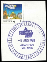 Lot 2306:Albert Park: - WWW #1020 51½mm 'PRIORITY/PAID/5AUG1988/Albert Park/Vic 3206', ('Albert Park' 18mm long - LRD), on 1c on piece. [Rated 3R]  RH 26/11/1883; PO c.-/1/1884.