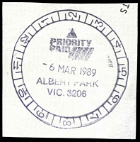 Lot 2373:Albert Park: - WWW #1030 53mm 'PRIORITY/PAID/6MAR1989/ALBERT PARK/VIC. 3206', (ERD), on piece.  RH 26/11/1883; PO c.-/1/1884.