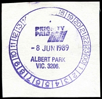 Lot 2307:Albert Park: - WWW #1030 51½mm 'PRIORITY/PAID/8JUN1989/ALBERT PARK/VIC. 3206.', on piece. [The only recorded date]  RH 26/11/1883; PO c.-/1/1884.
