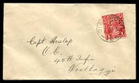 Lot 3463:Wonthaggi (2): - WWW #132A 'WONTHAGGI/2/630A19SE16/---·---/VIC' on 1d red KGV [V/12] on cover to Capt Heslop/O.C./45th Infin/Wonthaggi.  Renamed from Powlett Coal Mine PO 1/8/1910.