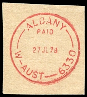 Lot 3370:Albany: - 'ALBANY/PAID/27JL78/W-AUST-6330' (ERD by over 12mths) in red.  PO 14/10/1834.