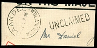 Lot 3373:Baandee: - 'BAANDEE/?SEP16/WESTN AUSTRALIA' (D26) on on piece, fine unframed 'UNCLAIMED' alongside.  PO 5/7/1909; closed 27/3/1975.
