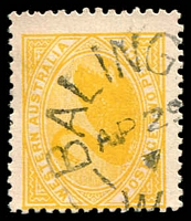 Lot 3523:Balingup: - unframed 'BALING[UP]/AP29/7/W[.A]' on 2d yellow Swan.  PO c.-/12/1885.