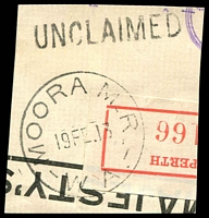 Lot 3157:Moora: 'MOORA M_R_/19FE13/W.A' on piece, unframed 'UNCLAIMED' (A1) alongside.  PO 1/10/1894.