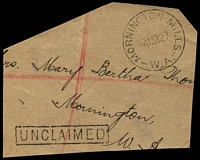Lot 3524:Mornington (2): - 'MORNINGTON MILLS/4MR27/W.A.' (C27) on piece, boxed 'UNCLAIMED' (A1) alongside.  PO 17/5/1900; closed 30/11/1967.