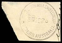 Lot 3544:No. 2 State Mill, Dwellingup: - 'No2 STATE MILL DWELLINGUP/3SE28/WESTERN AUSTRALIA' #A26, on piece.  RO 8/4/1913; PO 1/7/1913; renamed Banksiadale PO 9/11/1937.