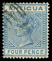 Lot 3091:1882 Wmk Crown/CA SG #23 4d blue, Cat £13.