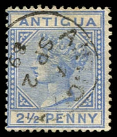 Lot 3092:1884-87 QV Wmk CA Perf 14 SG #26 2½d blue, Cat £14.