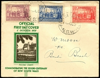 Lot 3966:APO 1937 NSW Sesqui set tied to illustrated FDC by Bondi Beach cds 1OC37.