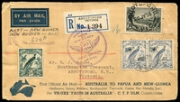 Lot 4945:1934 Australia - New Guinea - Australia AAMC #395 illustrated Faith In Australia registered boomerang cover from Abbotsford, with appropriate cachets, AAMC #395. Postage includes rare 1/- Vic Centenary & NG 3d Air pair, Lae regn handstamp on face