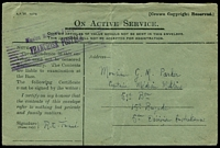 Lot 654:1917(C.) use of green Honour envelope to a Captain in the Medical Corps of the 59th Battalion of the 15th Brigade of the 5th Australian Division. violet barred 'Mission Militaire Française/FRANCHISE POSTALE' handstamp on face.
