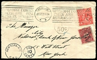 Lot 619 [1 of 2]:1923 (Sep 26) use of 2d red KGV on cover from Melbourne to New York, very fine British Empire Exhibition slogan. 5-line admonition on back from PO advising of incorrect postage on back, 10c PDue applied in New York.