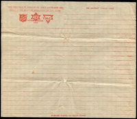 Lot 4101 [1 of 2]:1940s Comfort Funds Writing Paper: with red text on buff, logos for Salvation Army, ACF and YMCA. Designed for writing home. Plus plain Royal Australian Air Force sheet with blue text, odd tone spot. (2)